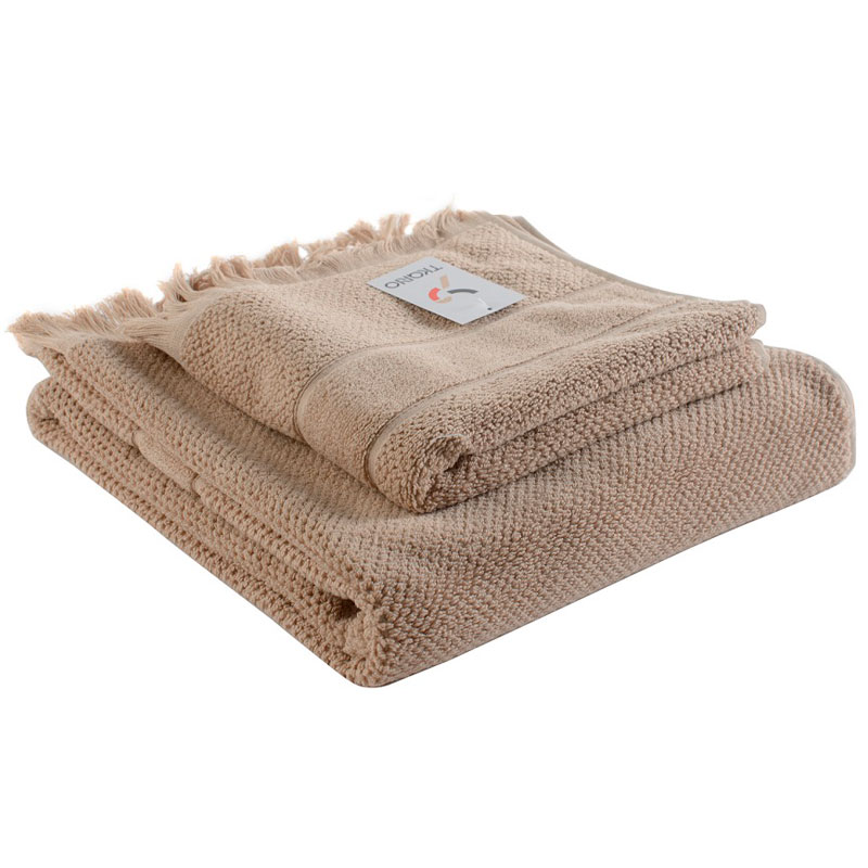 Банное полотенце с бахромой бежевого цвета Essential 70х140 фото