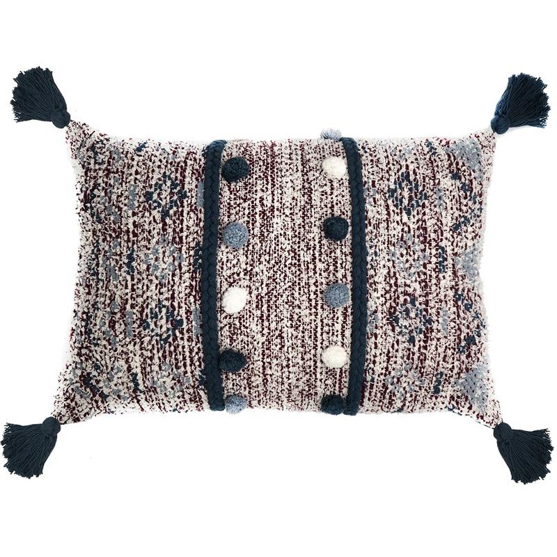 Подушка декоративная Tkano Ethnic с помпонами и кисточками 40x60x20см фото
