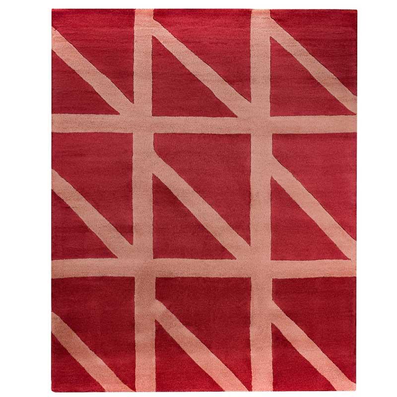 Ковер ручной работы Tkano Cuts&Pieces Geometric dance 230x160см, бордовый фото