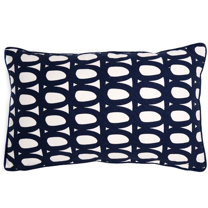 Чехол для подушки с принтом Twirl темно-синего цвета и декоративной окантовкой Cuts&Pieces 30х50 фото