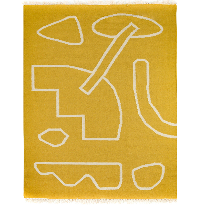 Ковер ручной работы из шерсти и хлопка Poetry and steps горчичного цвета фото