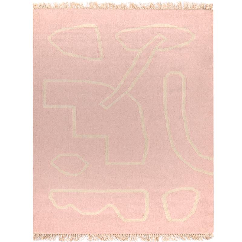 Ковер ручной работы из шерсти и хлопка Poetry and steps цвета пыльной розы фото