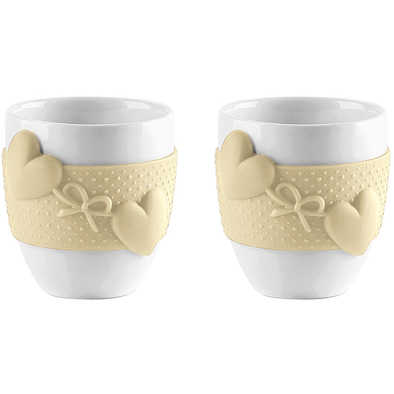 Набор из 2 чашек для кофе Love жёлтый фото