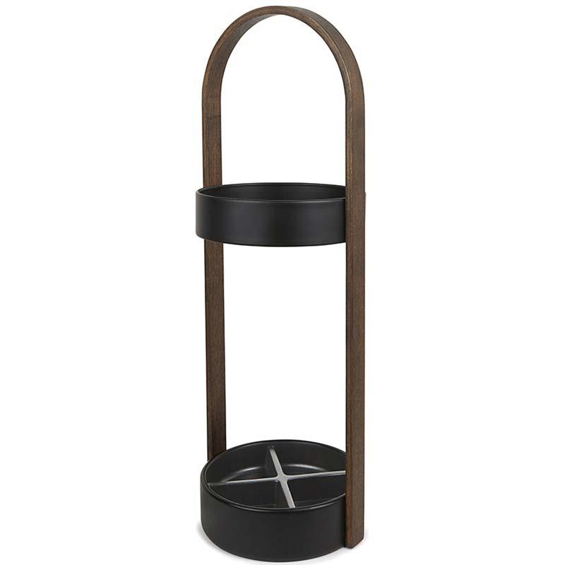 Подставка для зонтов HUB чёрный-орех фото