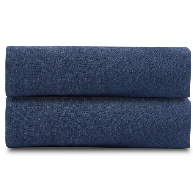 Простыня из стираного льна темно синего цвета